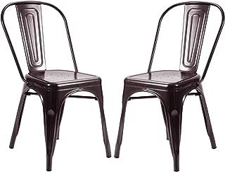 Stackable Bistro Café Trattoria Kitchen Side Chairs Set of 2, Antique Copper