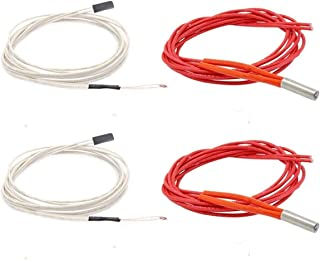 NTC 3950 100K Thermistor with 1 Meter Wiring with Female Pin Head and 12V 40W 620 Ceramic Cartridge Heater for 3D Printer Hot End