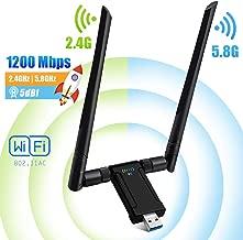 Adaptador Wifi USB 3.0 1200Mbps AC Dual Band Antena Wifi 5dBi(5.8G/867Mbps+2.4G/300Mbps)Receptor Wifi USB para PC Laptop con Windows 10/7/8/XP/Vista Linux MAC OS