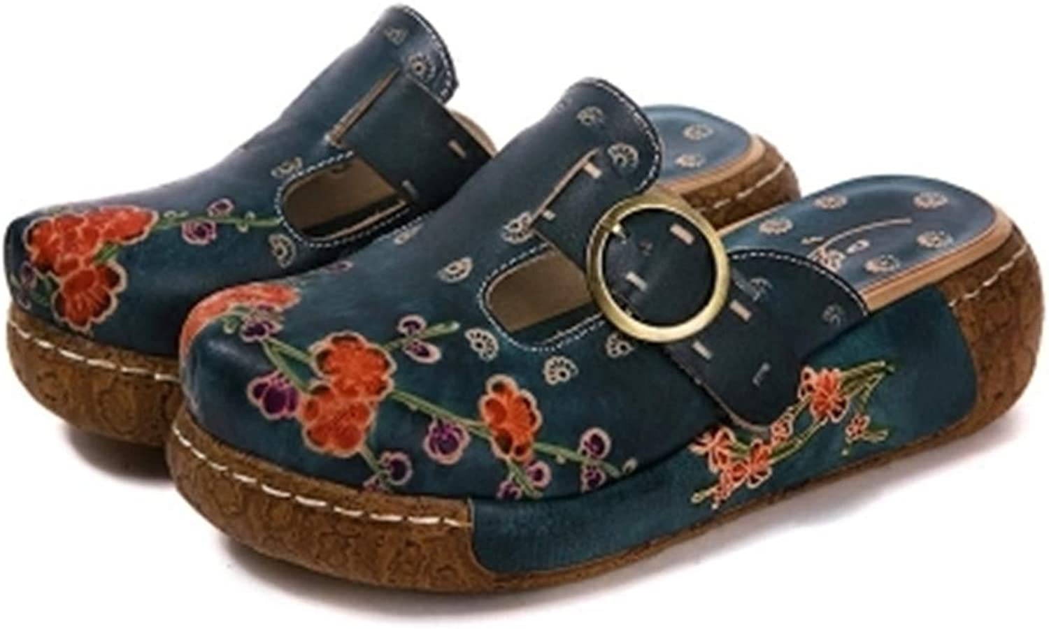 CrazycatZ Womens Leather Sandals, Mule shoes Slip-on Loafers Comfort Outdoor Wedged Slipper Clogs shoes