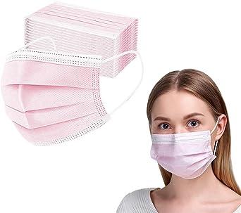 50 stuks wegwerp-gezichtsmaskers met elastische oorlus, 3-laagse oorlus, ademend, vlies-mondbedekking voor thuis, park, kantoor