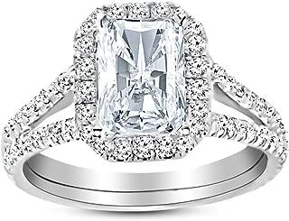 1.5 Ctw 14K White Gold Split Shank Radiant Cut Diamond Engagement Ring (1 Ct H Color SI2 Clarity Center Stone)