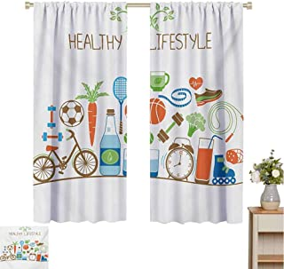 Gloria Johnson Fitnesskitchen curtainHealthcare Theme Athletic Energetic Life Routine Wellness Gym Equipment Vegetablescurtain holdbackMulticolor72 x 45 inch