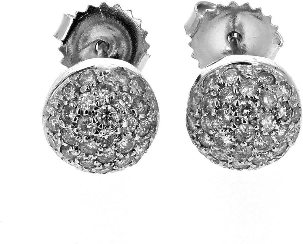 Diamond Ball Earring, 14Kt White Gold Diamond Ball Earring, 0.85Tcw