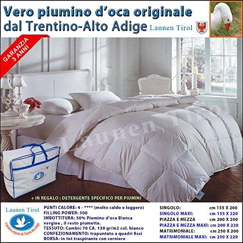 Piumone, Piumino Invernale Singolo 150 X 200 In Vera Piuma D' Oca - LAUNEN TIROL - Dal Trentino Alto Adige Caldissimo!