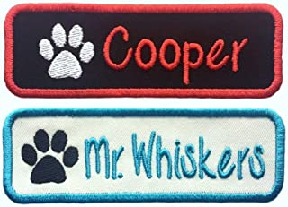 Custom Name Patch With Paw Print -Iron On Or Sew On - Choose Black Or White Fabric And Thread Color! (ONE PATCH)