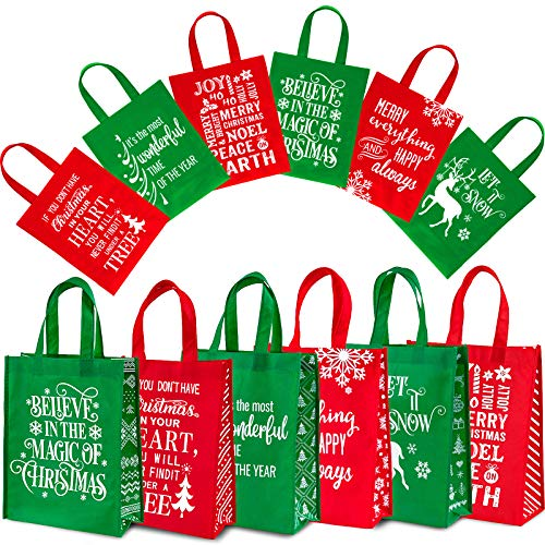 Whaline 12 Pack Christmas Non-Woven Gift Bags Christmas Tote Bags with Handles Red Green Snowflakes Xmas Tree Grocery Bag Reusable Party Treat Goodie Bags for Holiday Party Favors, 12.2' x 9.8' x 4.5'