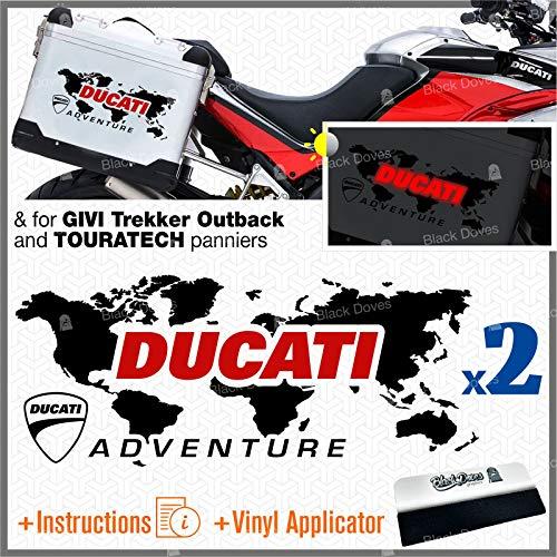 2 pegatinas con mapa del mundo Adventure compatibles con Ducati Givi Touratech (negro/rojo)