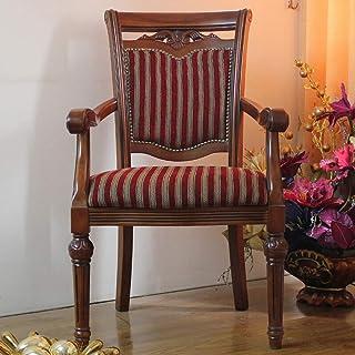 Luqifei Sillas de Comedor Madera sólida Tallada Silla de Comedor Americana de Tela a Rayas Silla de Comedor Fácil de Montar 2 Piezas Cocina Comedor Muebles (Color : Brown, Size : 52x50x106cm)