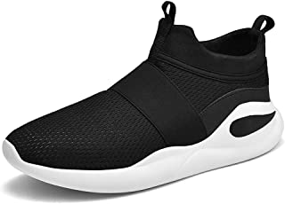 XUJW-Shoes, Mens Athletic Shoes for Men Sports Shoes Slip On Style Mesh Material Durable Comfortable Walking Travel Hollow Lightweight Flexible MD Outsole (Color : Black, Size : 6 UK)