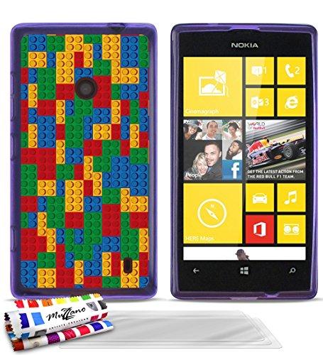 MUZZANO Le Glossy-Cover Morbida Ultra Sottile, Motivo: Mattoncini Mosaico, Colore: Viola (Confezione da 3 pellicole di Protezione Schermo e Pennino e Panno di Pulizia, per Nokia Lumia 520