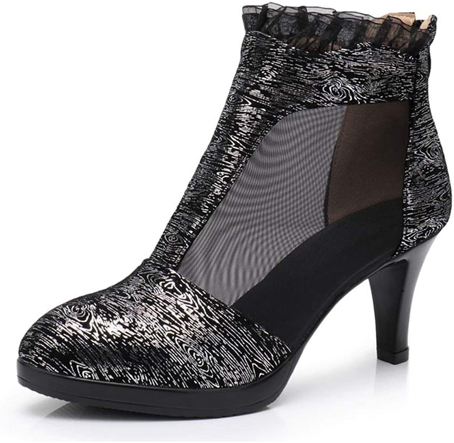 TARSHIN Single shoes Spring and Summer Mesh Boots Hollow Bare Boots Short High Heel Women's Boots