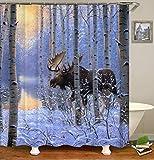 Qualität Polyester Stoff Elch Duschvorhang Realistische Elch Schnee Wald Fluss Wilde Tiere Thema Druck Wasserdicht Bad Vorhang Für Badezimmer Dusche Und Badewanne (12 Haken) (Size : 150×180cm)