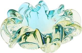 GlassOfVenice Murano Glass Sommerso Centerpiece Bowl - Amber Aqua