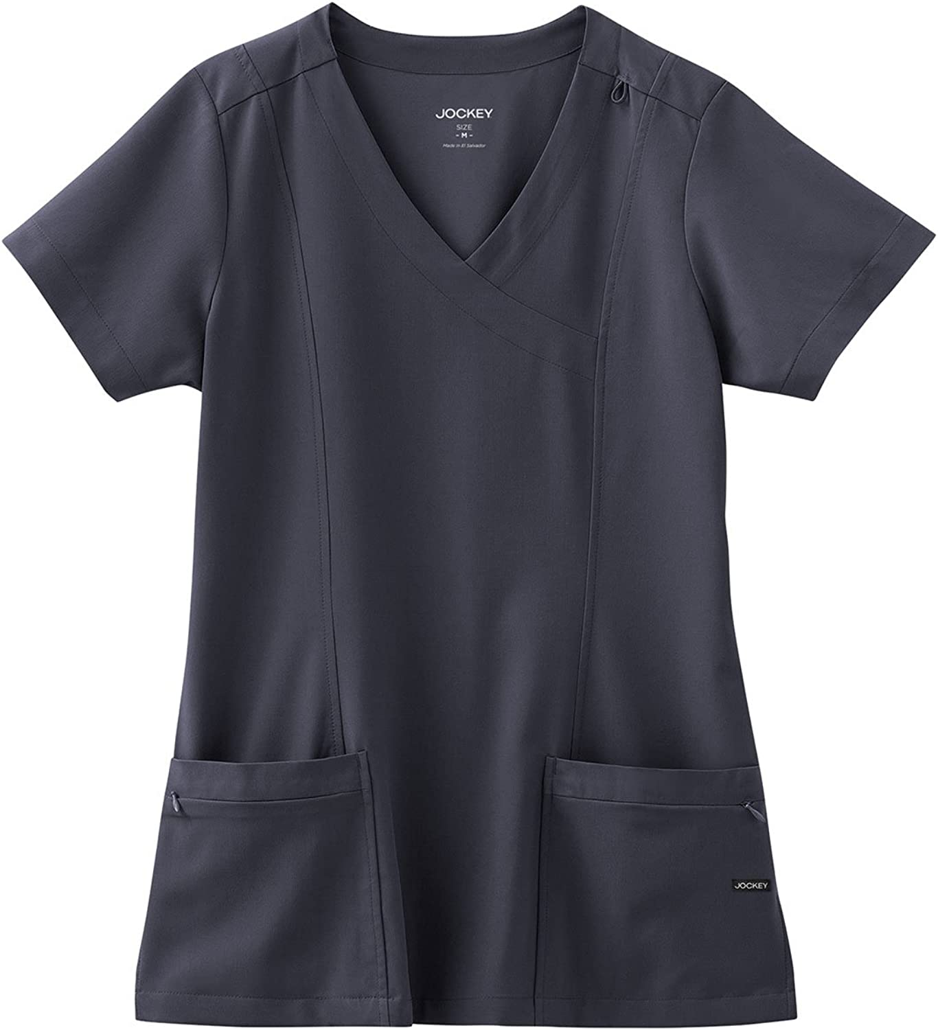 Classic Fit Collection By Jockey Women's Mock Wrap Scrub Top Large Charcoal