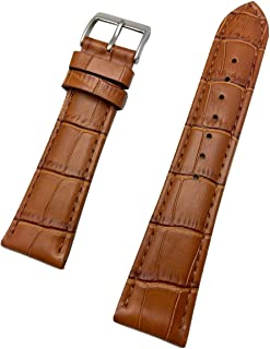 22mm Honey Brown Genuine Leather Watch Band   Square Alligator Crocodile Grain, Lightly Padded Replacement Wrist Strap That Brings New Life to Any Watch (Mens Standard Length)