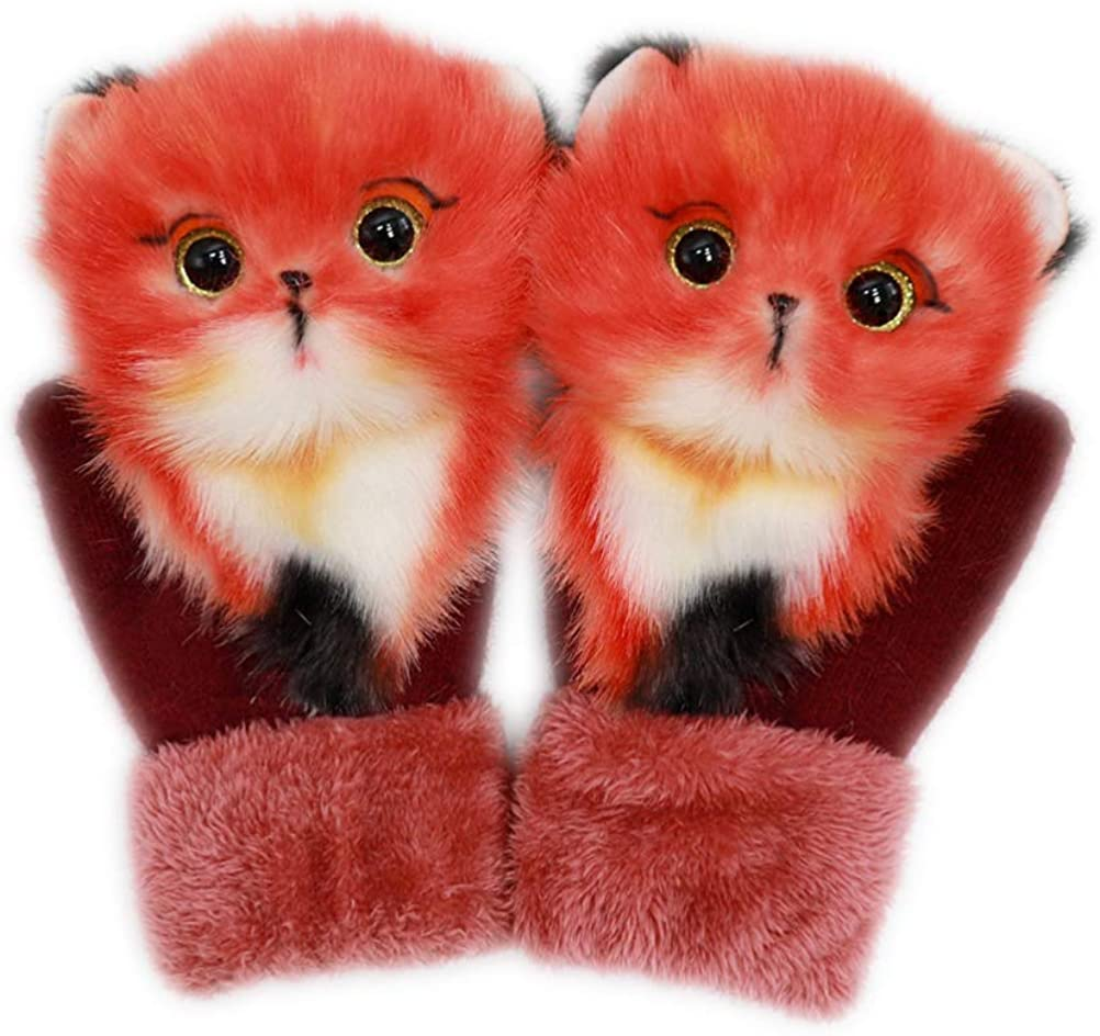 SASKATE Winter Knitted Gloves, Cute Baby Plush Mittens Cartoon Animal Thermal Mittens Lovely Comfortable Winter Gloves