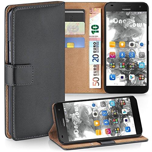moex Premium Book-Hülle Handytasche kompatibel mit Huawei Ascend G7 | Handyhülle mit Kartenfach & Ständer - 360 Grad Schutz Handy Tasche, Dunkel-Grau