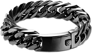 Heavy Mens Bracelet Chain 316L Stainless Steel Punk Double Curb Cuban Rombo Link 15/17mm 7-11inch