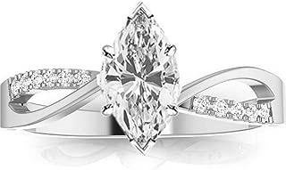 0.58 Ctw 14K White Gold Elegant Twisting Split Shank Engagement Ring w/Marquise 0.5 Carat Forever One Moissanite Center