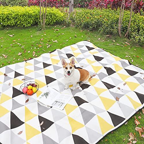 Yorbay Picknickdecke 200 x 300 cm XXXL Fleece wasserdicht Decke mit Tragegriff Mehrweg (Dreieck)
