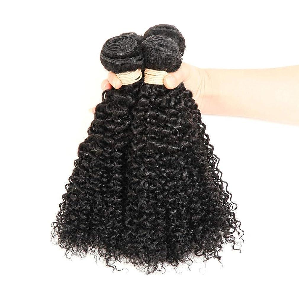 周術期余計なセンブランスYESONEEP ブラジルのバージン人間の髪の毛の束ブラジルの変態カーリー織り人毛ナチュラルブラック色16-22インチ(100 +/- 5g)/ pc 1バンドルロールプレイングかつら女性の自然なかつら (色 : 黒, サイズ : 18 inch)