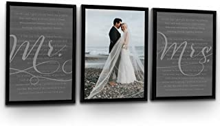 Pretty Perfect Studio His Hers Wedding Vows 3 Panel Custom Wall Art Set | Personalized Wedding Vows on Canvas | 20x30 Black Framed Ready-to-Hang Canvas