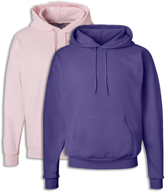 Hanes P170 Mens EcoSmart Hooded Sweatshirt Large 1 Pale Pink + 1 Purple