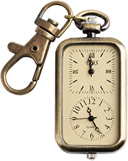 ALIENWOLF Pocket Watch for Women or Men Classical Antique Dual Time Key Chain Quartz Analog Watches