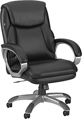 Bush Business Furniture Market Street High Back Leather Executive Office Chair, Black