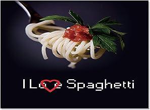 I Love Spaghetti Area Rug 4'x6' Non-Slip Floor Mat Bedroom Living Room Rug for Children Kids Adults Red Black Soft Rectang...