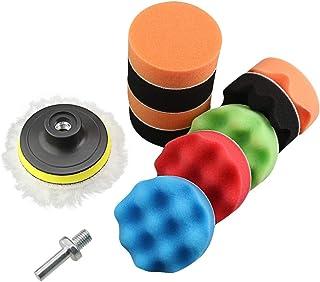 AGGER Schwamm Pads, 12 Stück, 75 mm, aus Wolle, zum Polieren, Wachsen, für Autos, mit M10 Bohrer Adapter