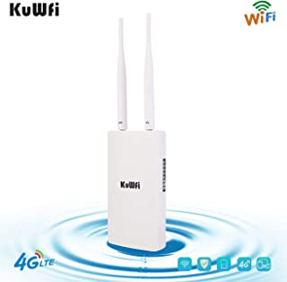 KuWFi Waterproof Outdoor 4G LTE CPE SIM Card WiFi Router 150Mbps CAT4 SIM LTE Routers Work with IP Camera or Outside WiFi ...