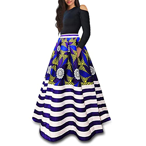 a99f27f7b45 VLUNT Women s African Floral Print A Line Long Skirt Pockets Two Pieces Maxi  Dress