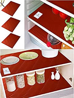 Kuber Industries Refrigerator Drawer Place Mats Set Of 6 Pcs (13*19 Inches_Red_Pack Of 6)