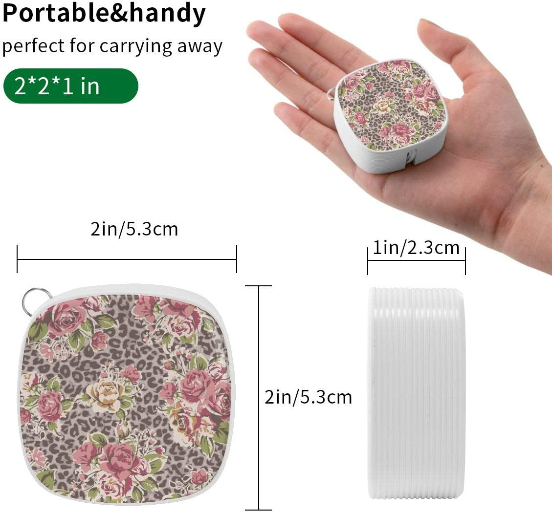 Animal Leopard Print Pink Rose Flower Trendy 3-in-1 Retractable USB Cable Type C Sync Fast Charging Cord for All Phone Tablets 2x2x0.8 Micro USB Cable Mini Square
