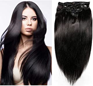 Friskylov 24Inch 120g Clip in Human Hair Extensions Natural Black Straight 100% Remy Human Hair Clip in Extesnions Double Weft Thick Hair 8A Grade 8Pcs/Lot with 20Clips