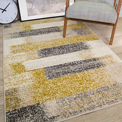 The Rug House Tapis Milan Motif rayé Ikat tâcheté délavé Jaune Moutarde Ocre Gris Beige crème 120cm x 170cm (3