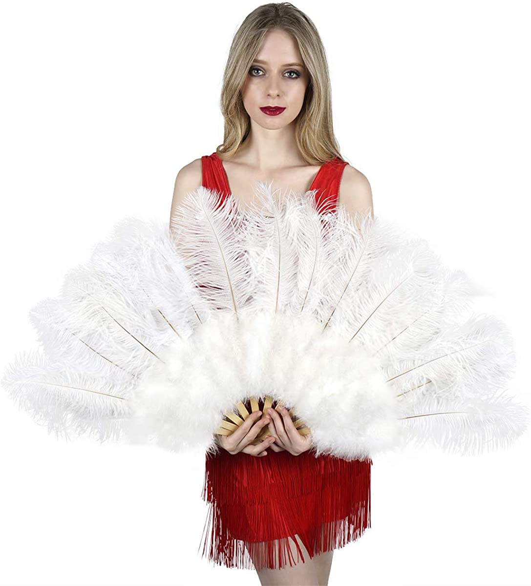 ZUCKER Large Ostrich Feather Hand Fan Folding Flapper Danc - Los Angeles Ranking TOP14 Mall