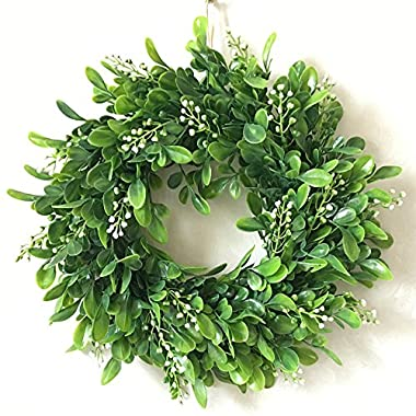 Zehui Lifelike Artificial Green Leaf Wreath Flowers Door Hanging Wall Window Decoration Wedding Party Christmas Decor No Powder F# Outer Diameter 30CM