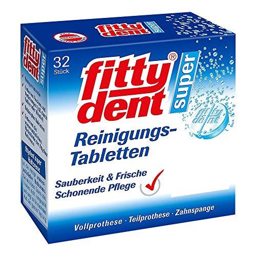 fittydent® Super Reinigungstabletten | 32 Stück | Entfernt fast unsichtbare Rückstände kraftvoll & schonend | Optimal für Voll- und Teilprothesen & Zahnspangen | Frische und Sauberkeit im Mund