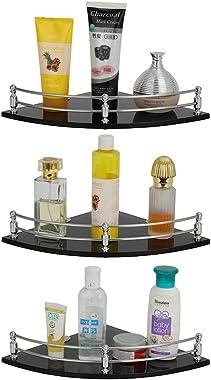 U-S-F BATH ACCESSORIES Glass Corner Shelf Bathroom Shelf and Kitchen Shelf Bathroom Accessories - 9 X 9 Inches -Black(Transpa