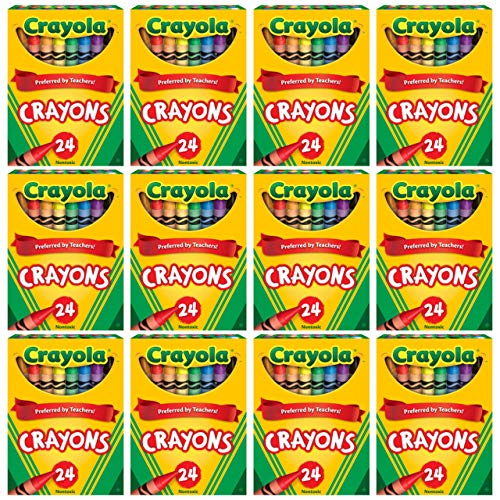 Crayola Crayons Bulk, 12 Crayon Packs with 24 Assorted Colors