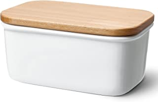 Sweese 3157 Large Butter Dish - Porcelain Keeper with Beech Wooden Lid, Perfect for 2 Sticks of Butter, White