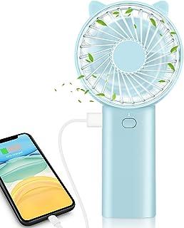 ELEGIANT Mini Ventilador de Mano Portable con Carga USB, Plegable y Portátil, 4 Velocidad con Batería Externa de 4000mAh como PowerBank para Escritorio Oficina Dormitorio Casa, Viajar o Trabajar
