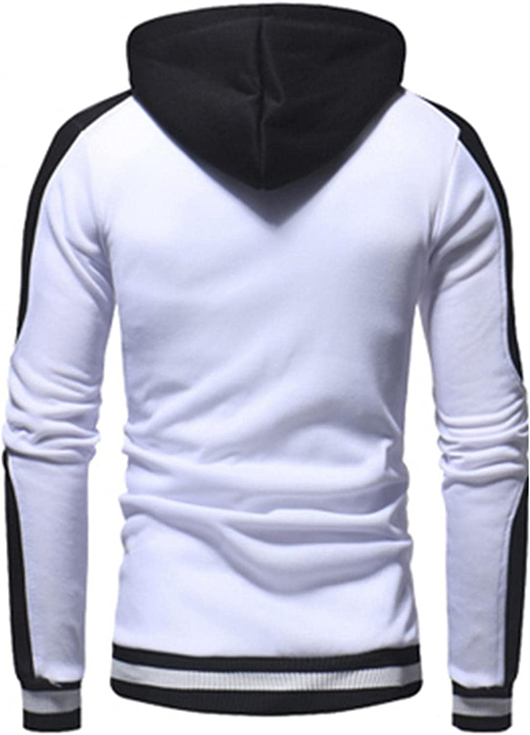 XUNFUN Men's Midweight Hooded Sweatshirt Hipster Gym Long Sleeve Drawstring Casual Color Block Pullover Hoodies with Pocket