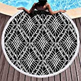XZ-Sky Alfombra Redonda de Toalla de Playa Bohemian Knitted Crochet Mesh Knitting Boho Manta de Yoga Picnic Mat 59 '