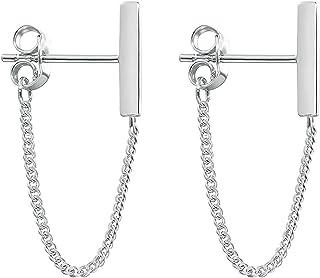 KSQS Minimalist Chain Earrings Dangle Earrings 925 Sterling Silver Plated Bar Earrings for Women