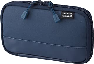 """LIHIT LAB. Compact Pen Case (Pencil Case), Water & Stain Repellent, Navy, 3.5"""" x 6.5'' (A7687-11)"""