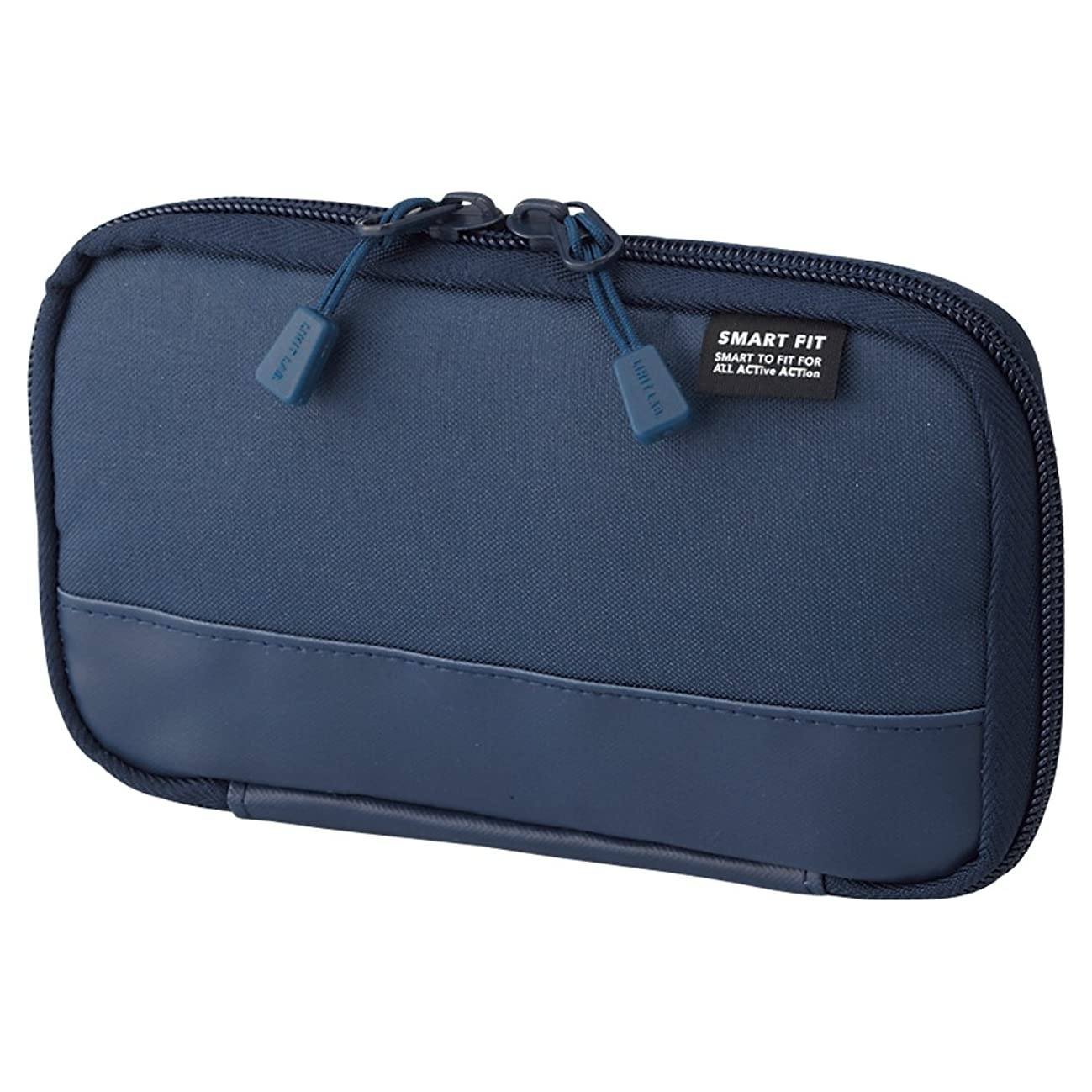 LIHIT LAB. Compact Pen Case (Pencil Case), Water & Stain Repellent, Navy, 3.5